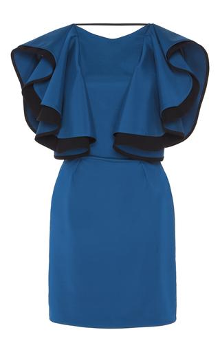 Medium emilio de la morena blue flutter sleeve mini dress