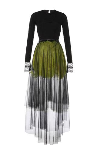 Medium emilio de la morena black long sleeve dress with feather details