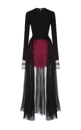 Medium emilio de la morena black long sleeve dress with feather details 2