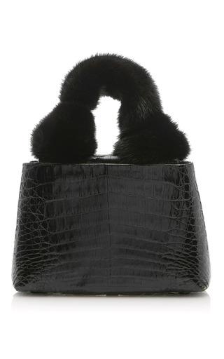 Medium nancy gonzalez black mini mink knot handle