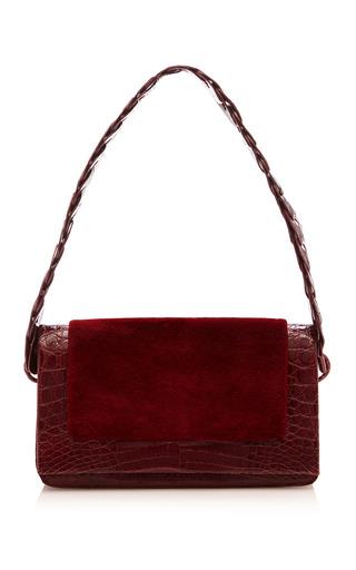 Medium nancy gonzalez red sheered mink flap shoulder bag