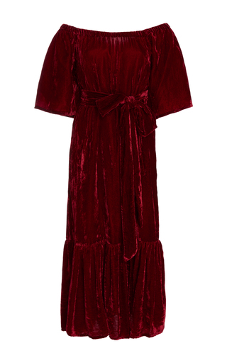 Medium rhode resort burgundy jay velvet off the shoulder dress