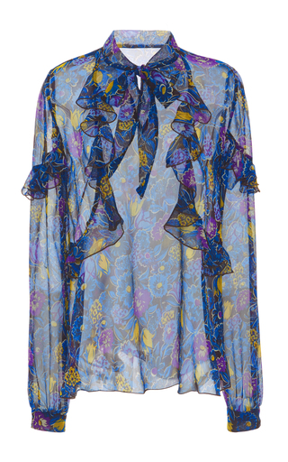 Medium anna sui blue garden flower crinkle chiffon top
