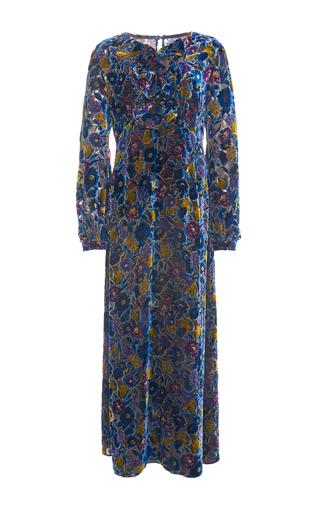 Medium anna sui blue garden flower velvet burnout dress