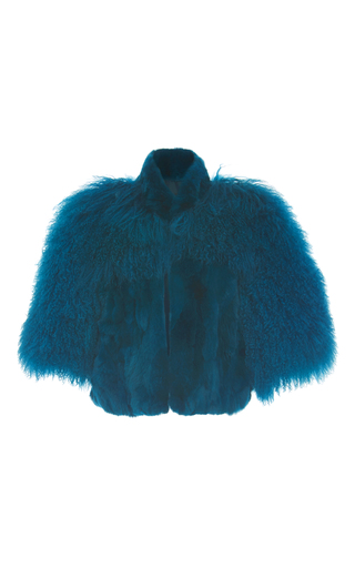 Medium anna sui blue mongolian trimmed rex jacket