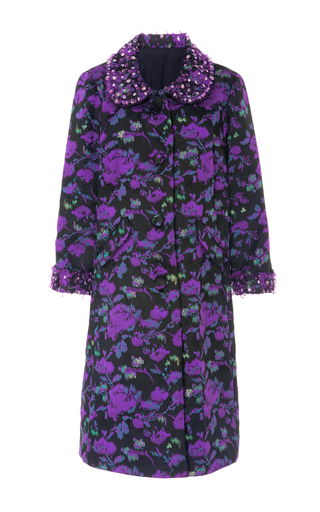Medium anna sui floral abstract watercolor jacquard coat