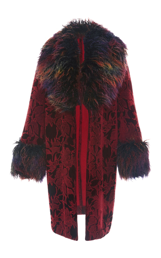 Medium anna sui burgundy floral flocked velvet coat