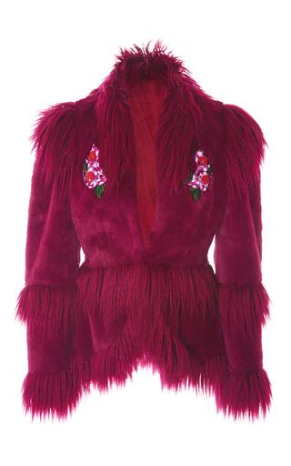 Medium anna sui burgundy la belle faux fur jacket