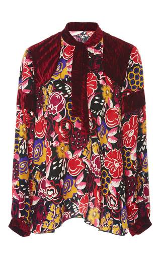 Medium anna sui floral jacquard and crushed velvet top
