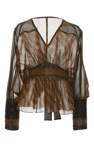 Medium anna sui print greenbrier diamond border top