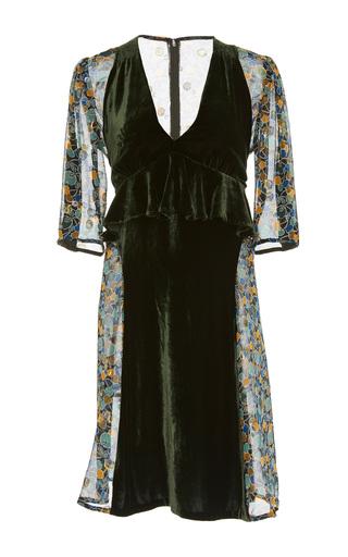 Medium anna sui green apples and cherries vintage velvet dress
