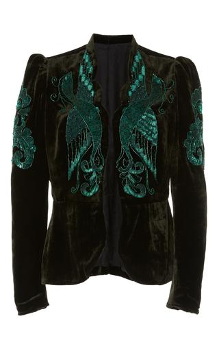 Medium anna sui green phoenix beaded velvet jacket