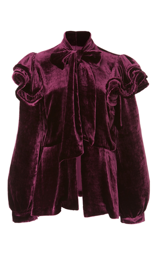 Medium anna sui purple vintage velvet bold shoulder jacket
