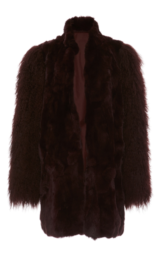 Medium anna sui brown mongolian trimmed rex coat