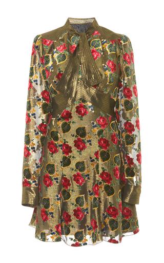 Medium anna sui gold tossed roses metallic mini dress