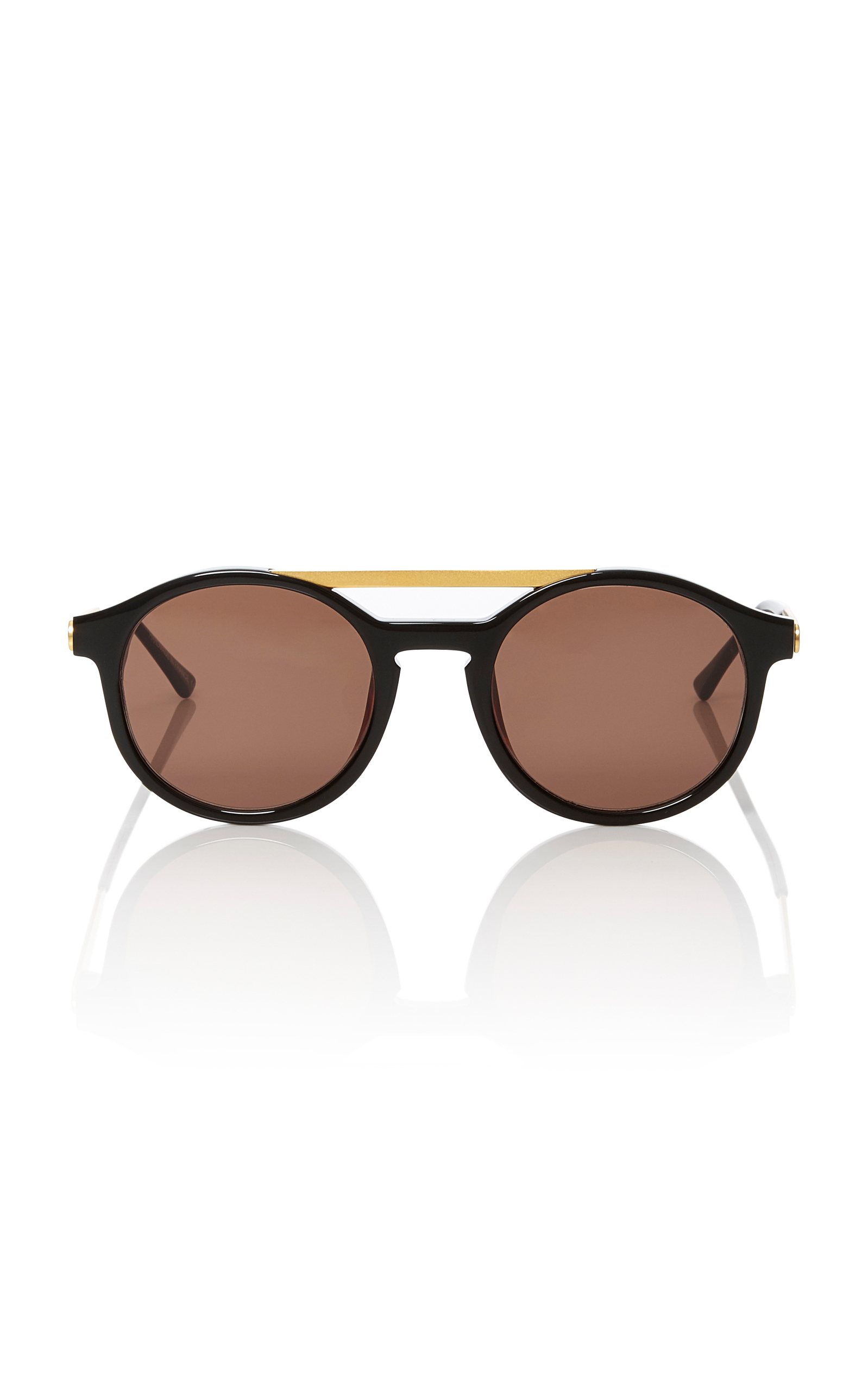 Thierry Lasry Fancy Round Brow-bar Sunglasses, Black