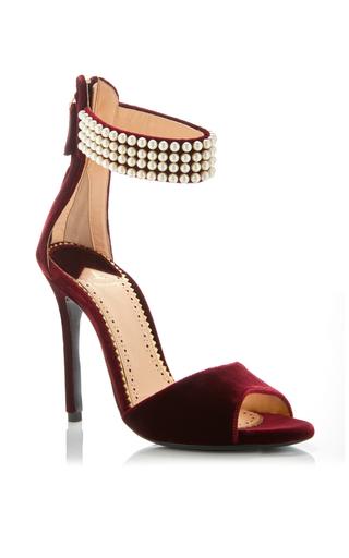 Medium louis leeman burgundy magdalena pearl ankle strap sandal