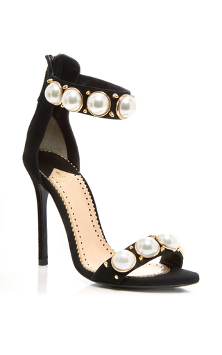 Medium louis leeman black suede pearl strap sandal