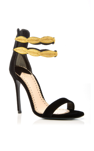Medium louis leeman black gold double strap sandal