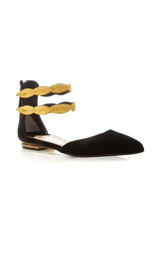 Medium louis leeman black gold double strap flat