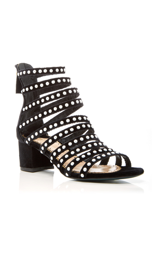 Medium louis leeman black pearl studded strappy sandal