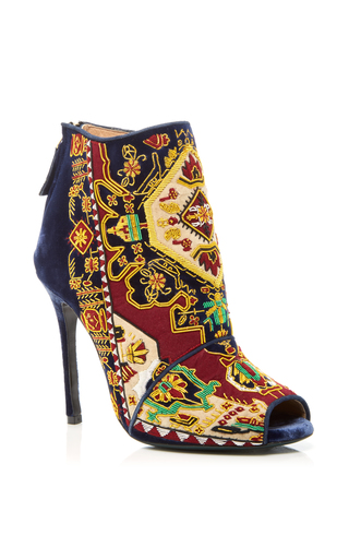 Medium louis leeman multi embroidered peep toe bootie