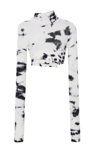 Medium zoe jordan black white tie dye wallace cropped turtleneck