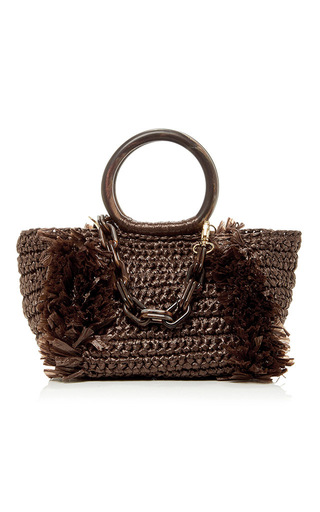 Medium carolina santo domingo brown corallina raffia tote