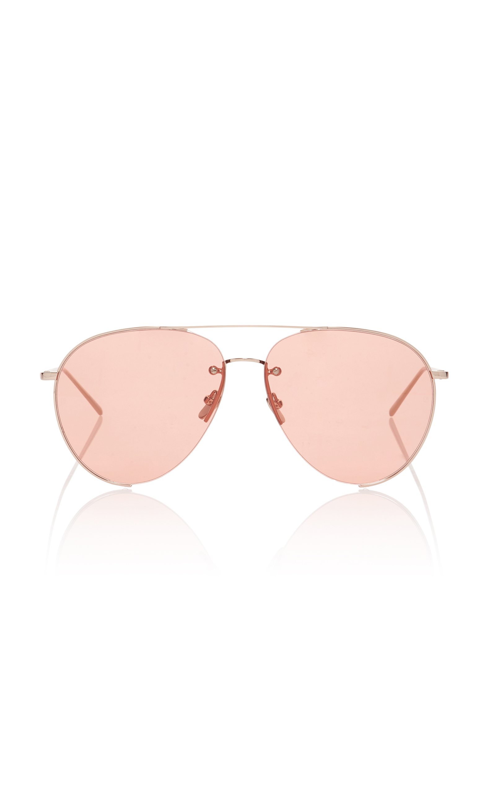 69064839d22 Linda Farrow Gold-Tone Aviator-Style Sunglasses In Orange ...