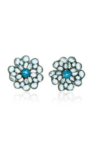 Medium bronia blue big flower earrings