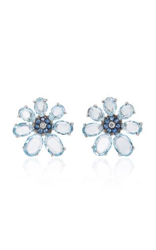 Medium bronia blue light blue flower earrings