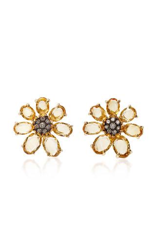 Medium bronia yellow citrine flower earrings