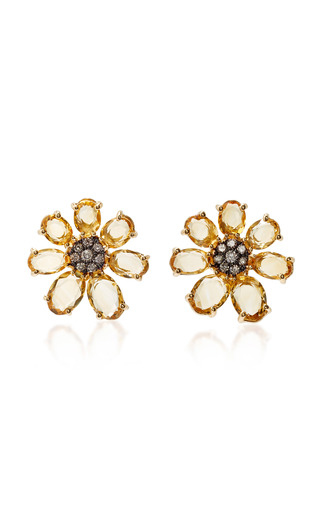 Medium bronia yellow citrine flower earrings