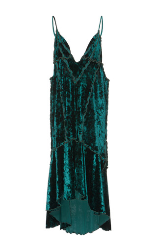 Medium kimhekim green raw cut velvet slip dress