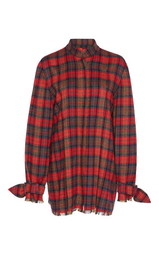 Medium kimhekim plaid tartan collarless shirt