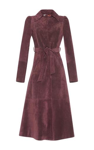 Medium luisa beccaria burgundy suede trench coat