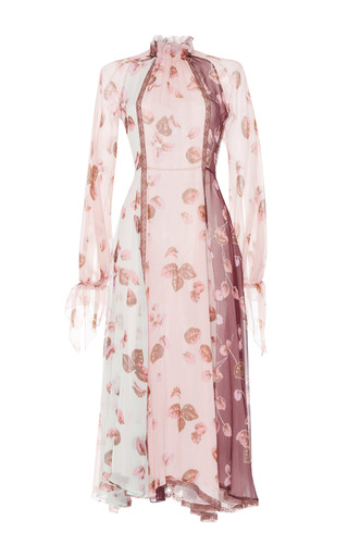Medium luisa beccaria multi printed long sleeve silk dress