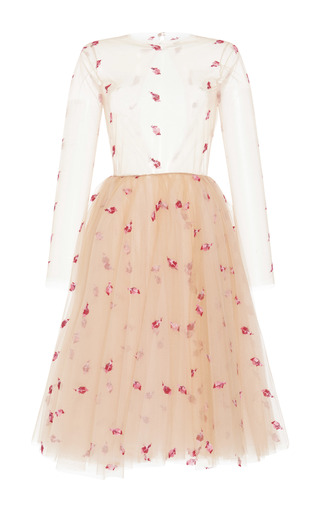 Medium luisa beccaria pink floral embroidered a line dress