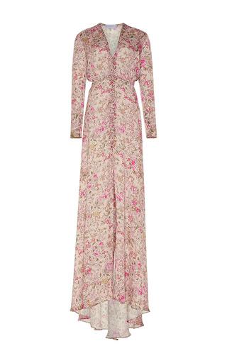 Medium luisa beccaria floral floral bottoncini long sleeve dress
