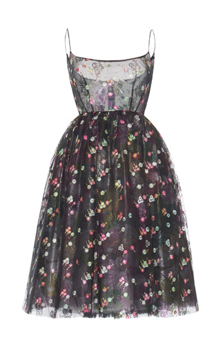 Medium luisa beccaria black floral embroidered tulle ballerina dress