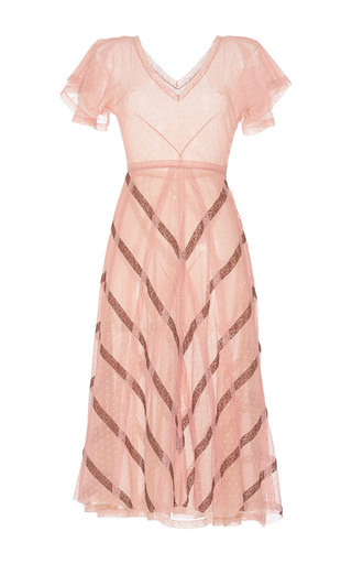 Medium luisa beccaria pink tulle and lace short sleeve dress