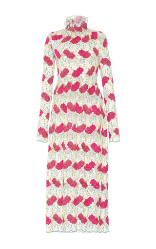Medium luisa beccaria floral embroidered lace midi dress