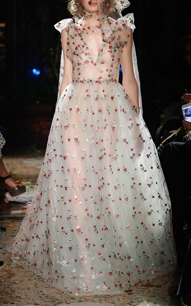 Tulle Embroidered Floral Ball Gown Luisa Beccaria Trp7yUv