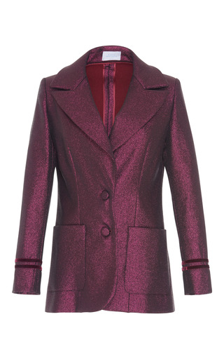 Medium luisa beccaria purple metallic long sleeve jacket