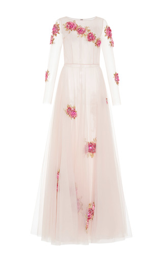 Medium luisa beccaria pink floral embroidered tulle gown