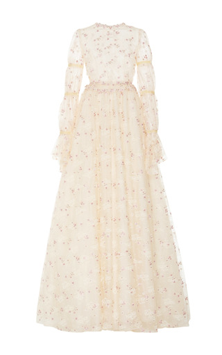 Medium luisa beccaria white embroidered tulle long sleeve gown
