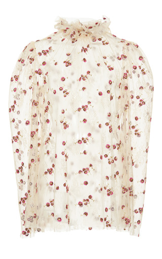 Medium luisa beccaria floral sheer floral embroidered blouse 2