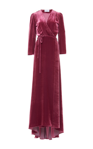 Medium luisa beccaria pink velvet belted kimono dress 2