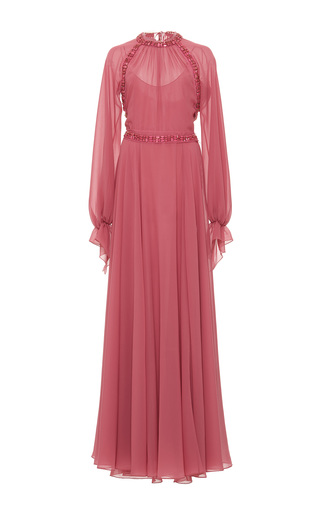 Medium luisa beccaria pink long sleeve embellished dress 2