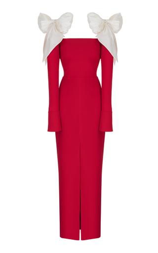 Medium rasario red long sleeve crepe gown